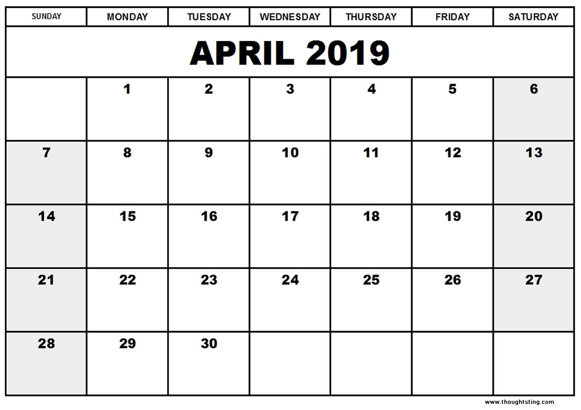 April 2019 Calendar Template Word, Excel, Pdf - Free Printable Calendar 2019 Template Pdf
