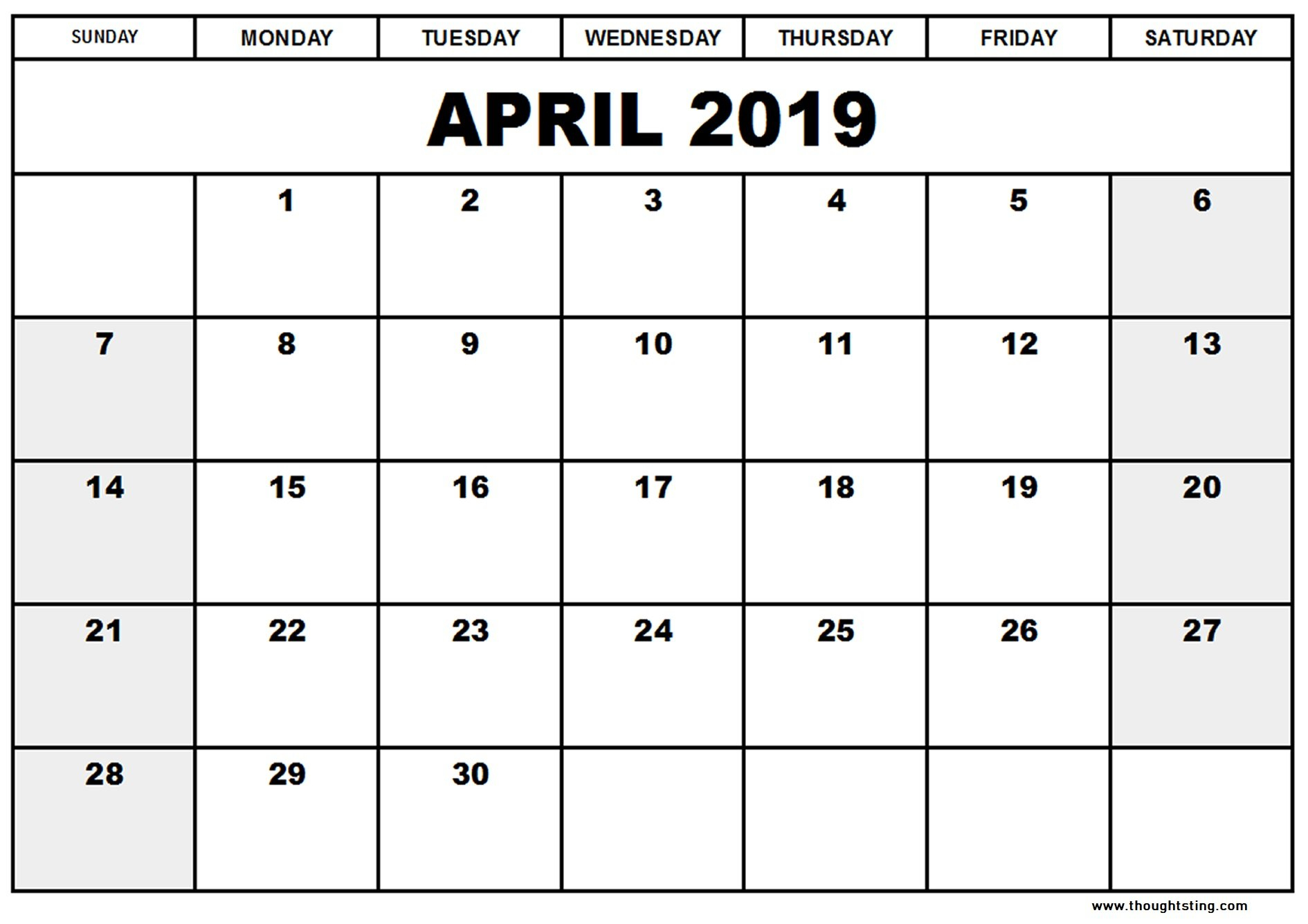 April 2019 Calendar Template Word, Excel, Pdf - Free Printable Calendar 2019 Template Word