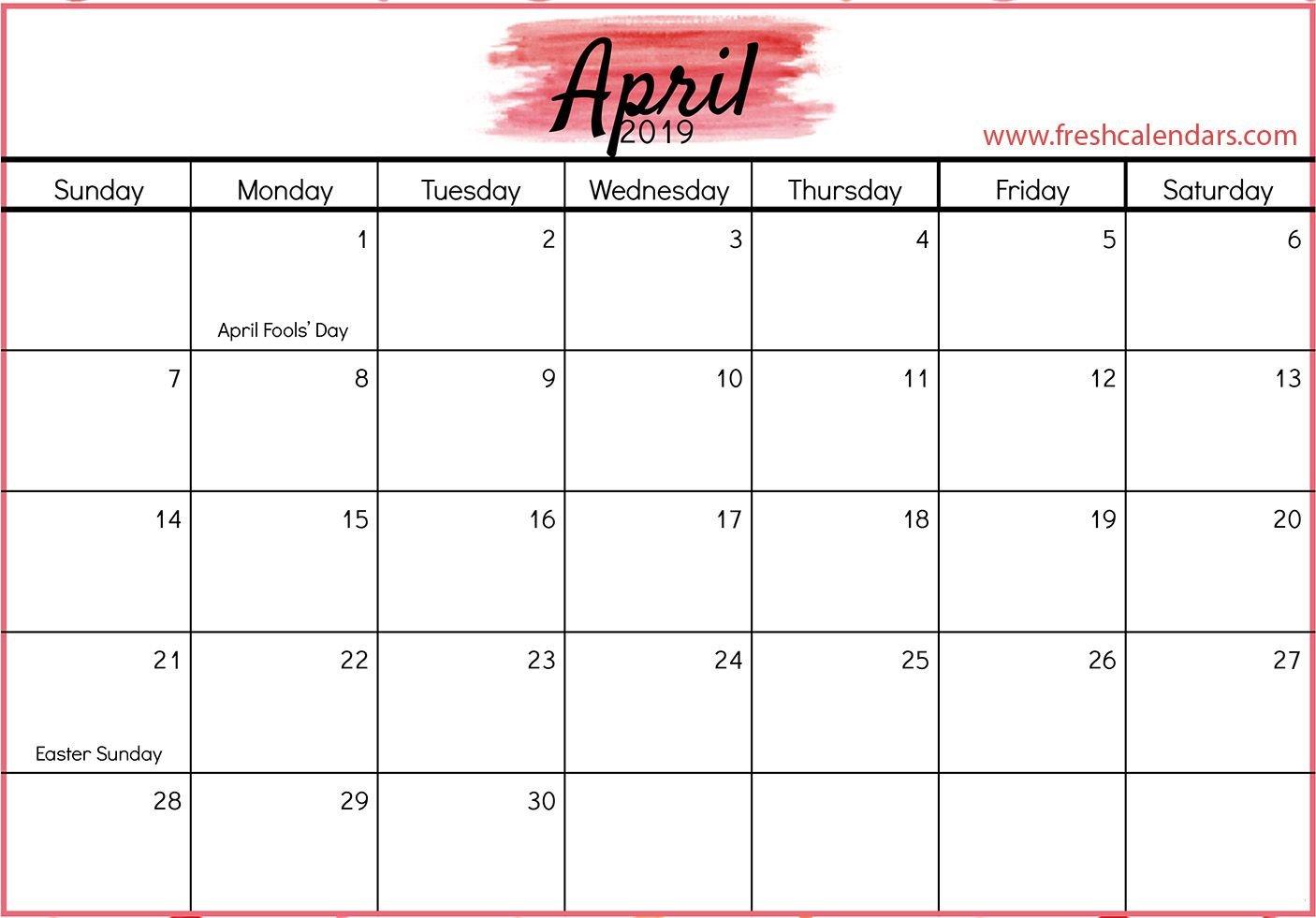 April 2019 Calendar With Holidays #april #april2019Calendar Calendar 2019 April