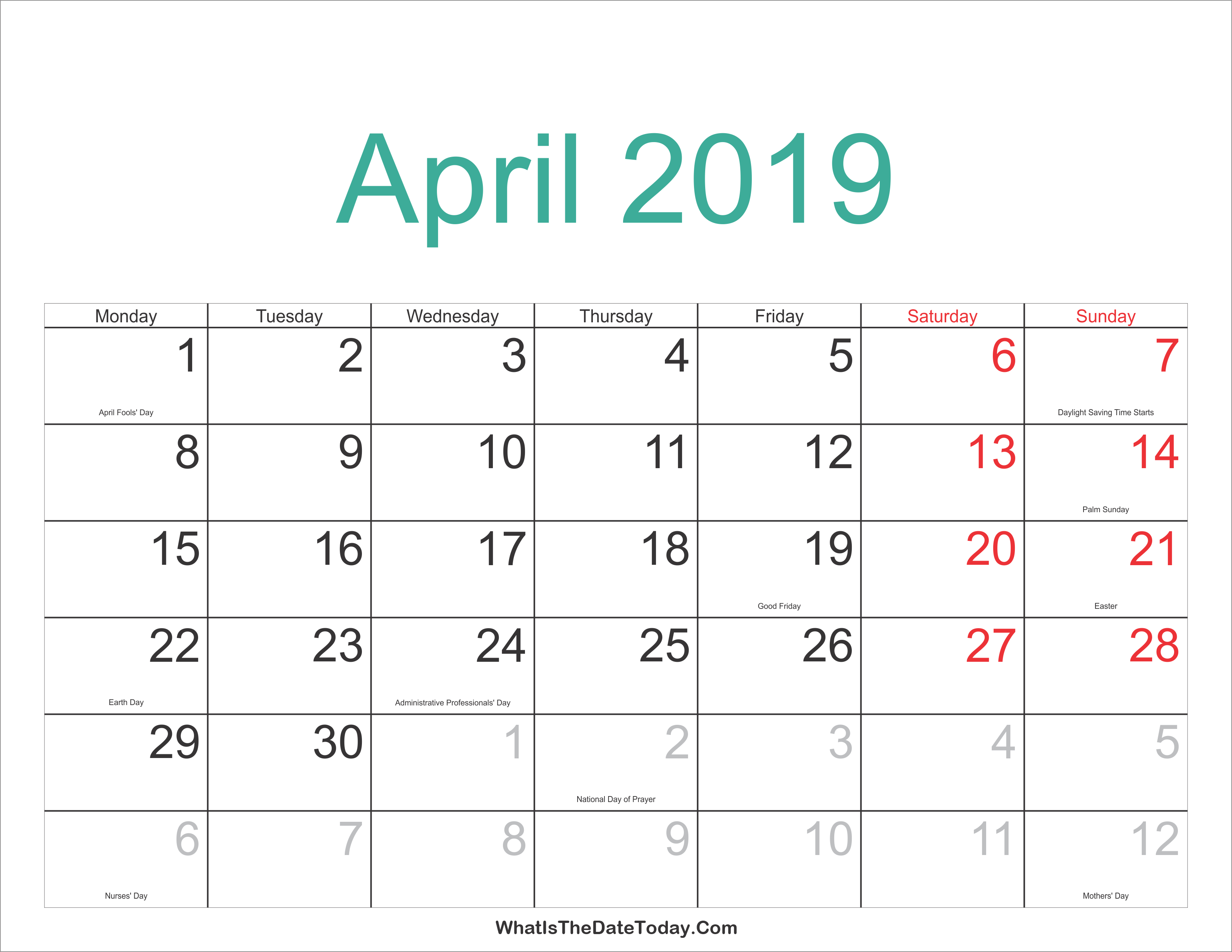 April 2019 Calendar With Holidays Us | April 2019 Calendar Printable Calendar 2019 Easter