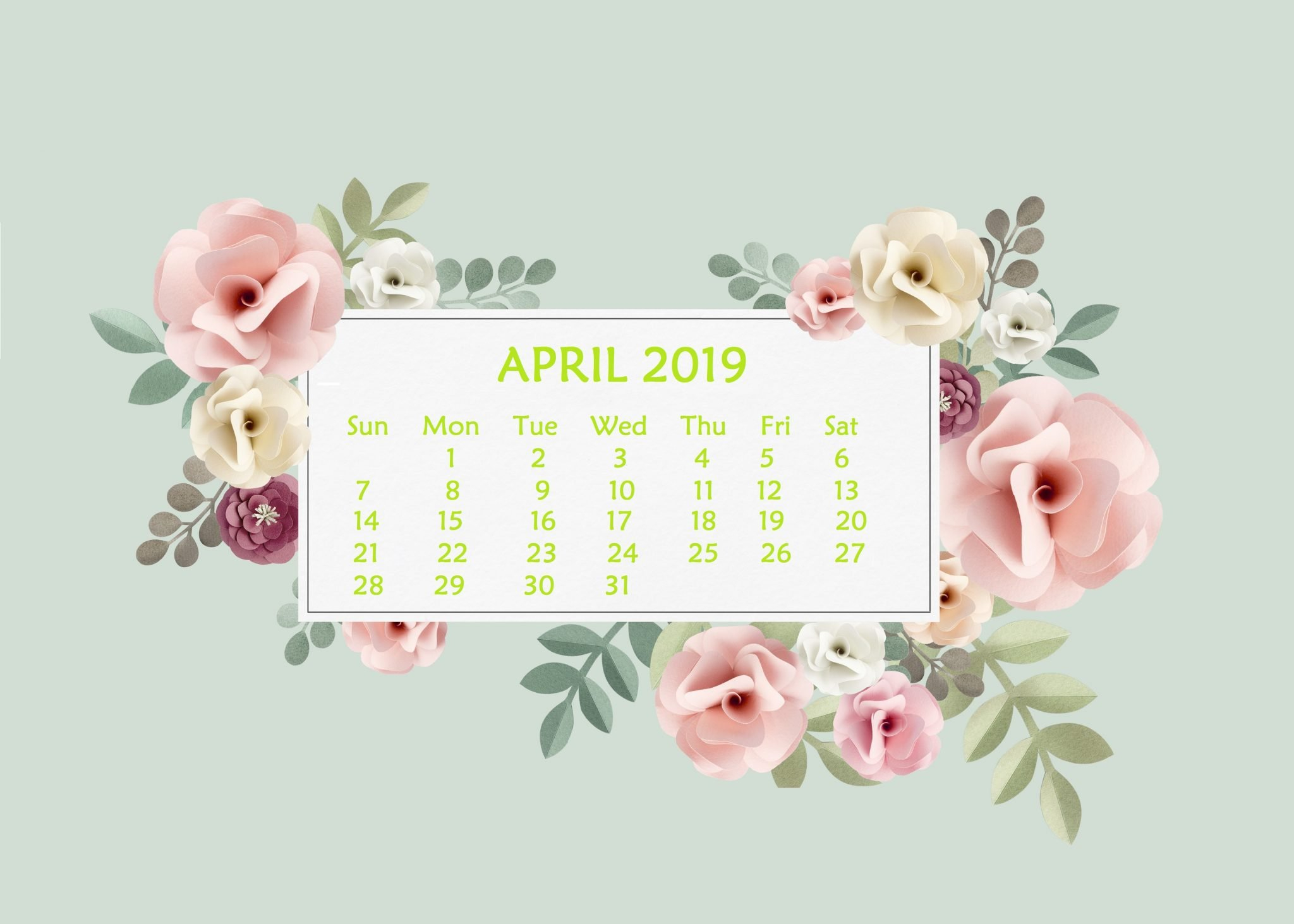 April 2019 Desktop Wallpaper With Calendar - April 2019 Calendar Calendar 2019 On Computer