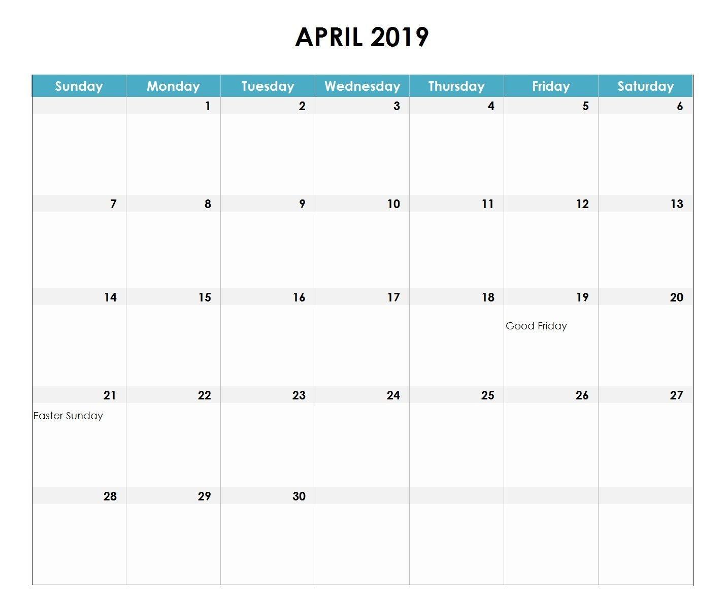 April 2019 Excel Calendar | Monthly Calendar Templates | Excel Calendar 2019 Excel Canada