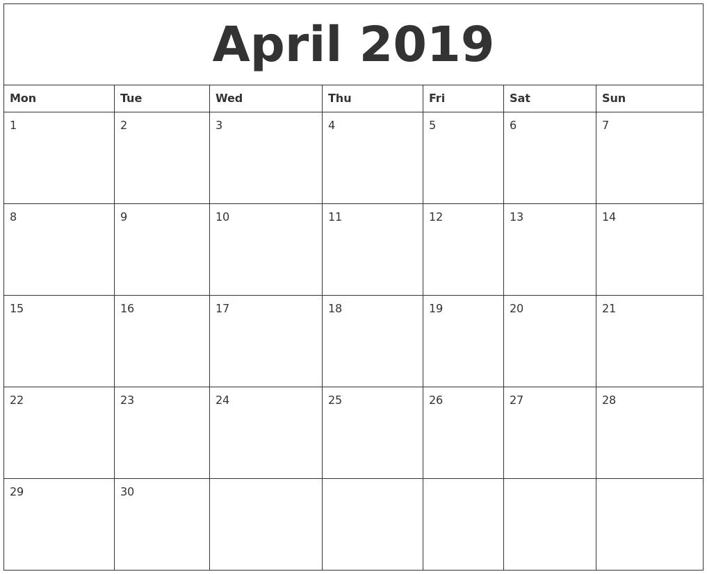 April 2019 Make Calendar April 5 2019 Calendar