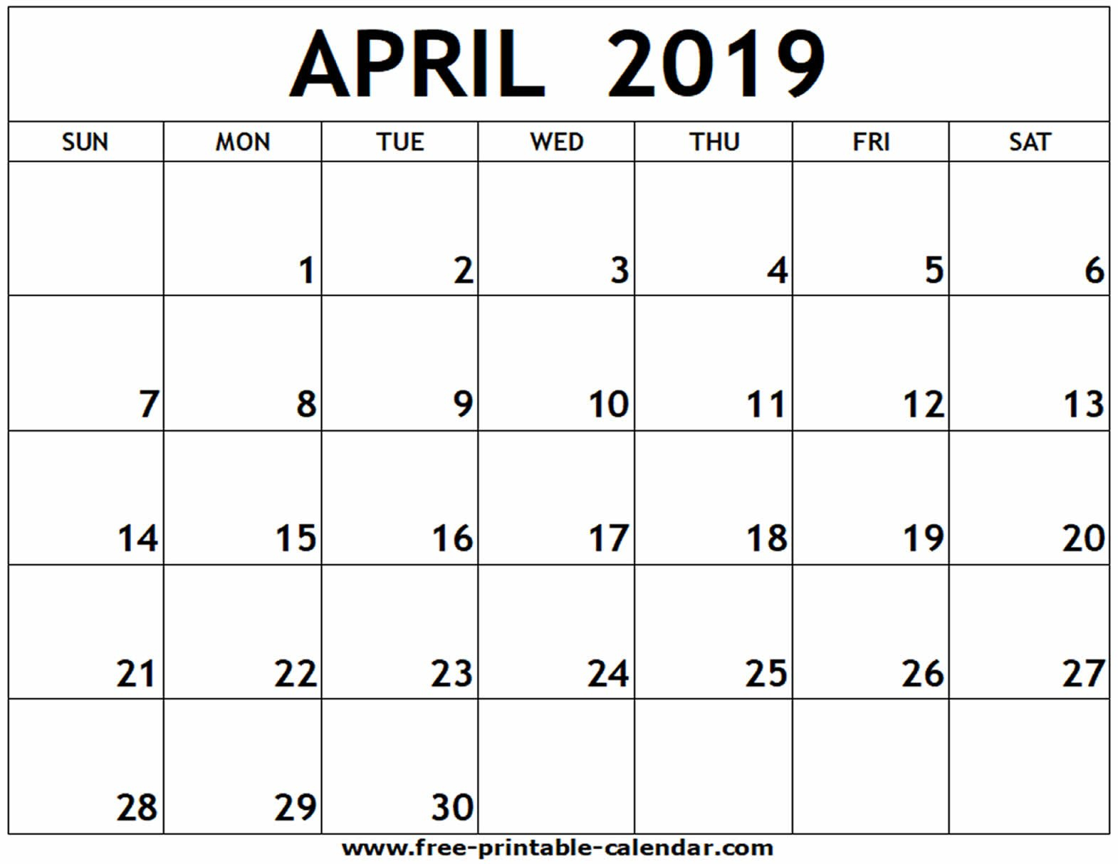 April 2019 Printable Calendar - Free-Printable-Calendar Calendar 2019 April Printable