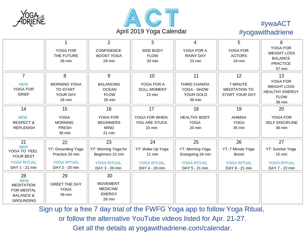 April 2019 Yoga Calendar - Act | Yoga With Adriene Calendar 2019 Yoga