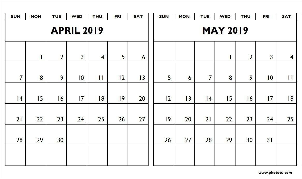 April And May 2019 Calendar (2 Months Printable Templates May 2 2019 Calendar