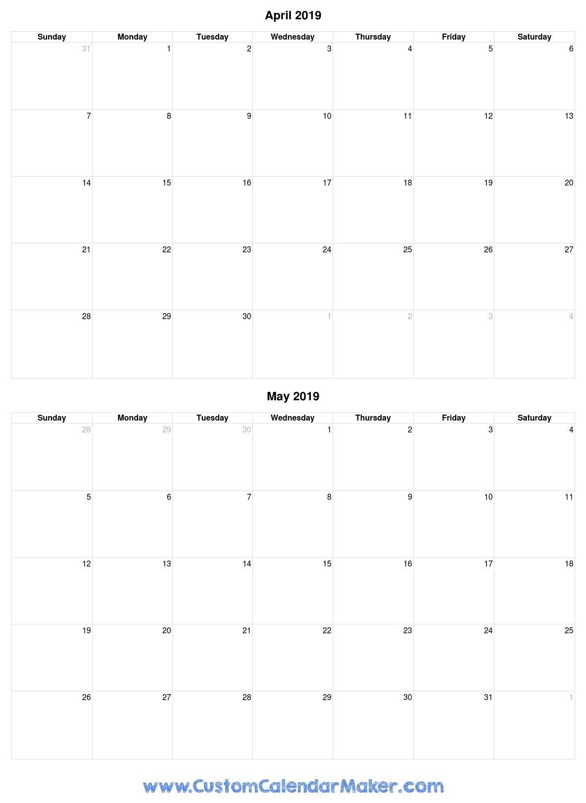 April And May 2019 Free Printable Calendar Template Calendar 2019 April May