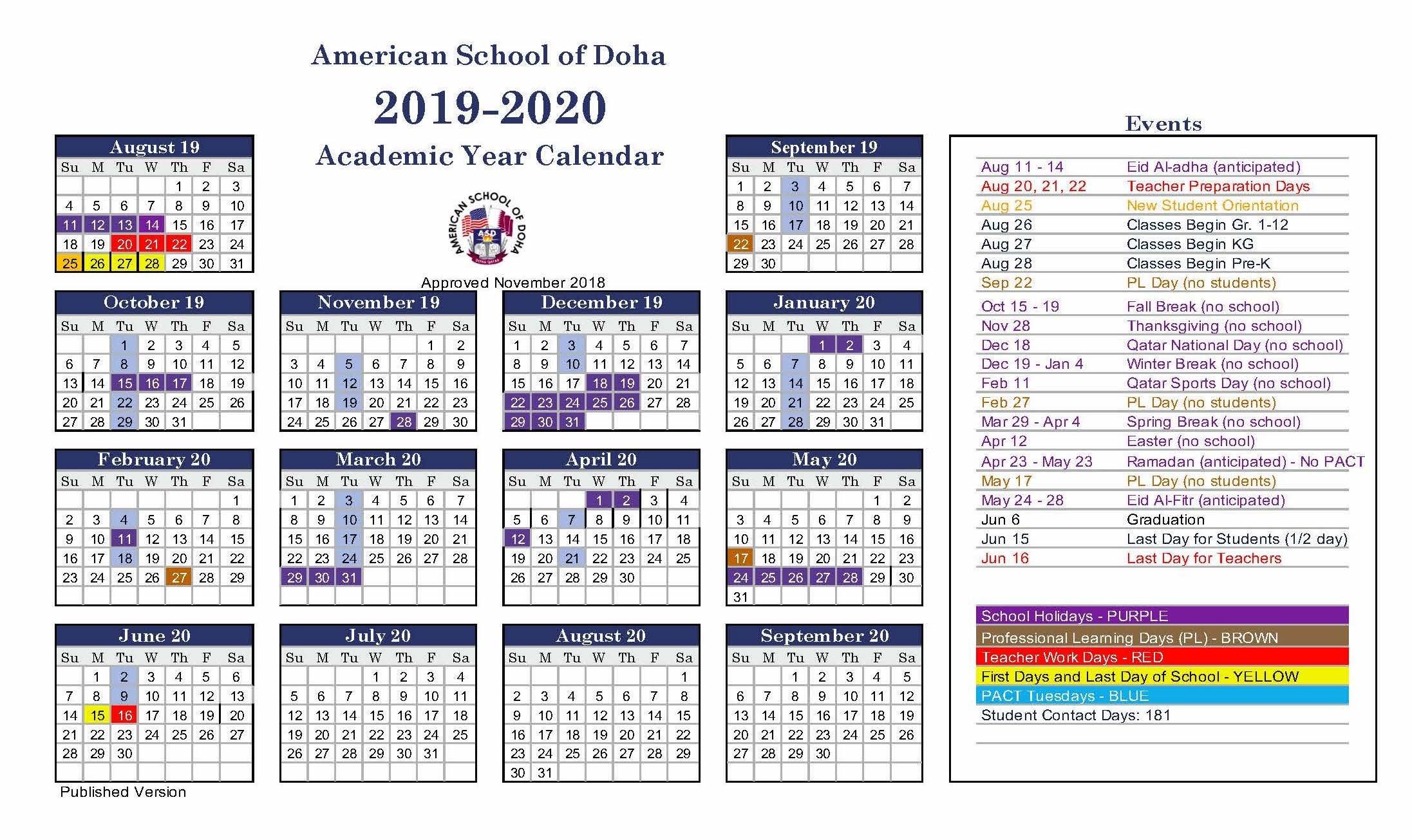 Asd Calendar 2019-2020 - American School Of Doha | International Calendar 2019 Qatar