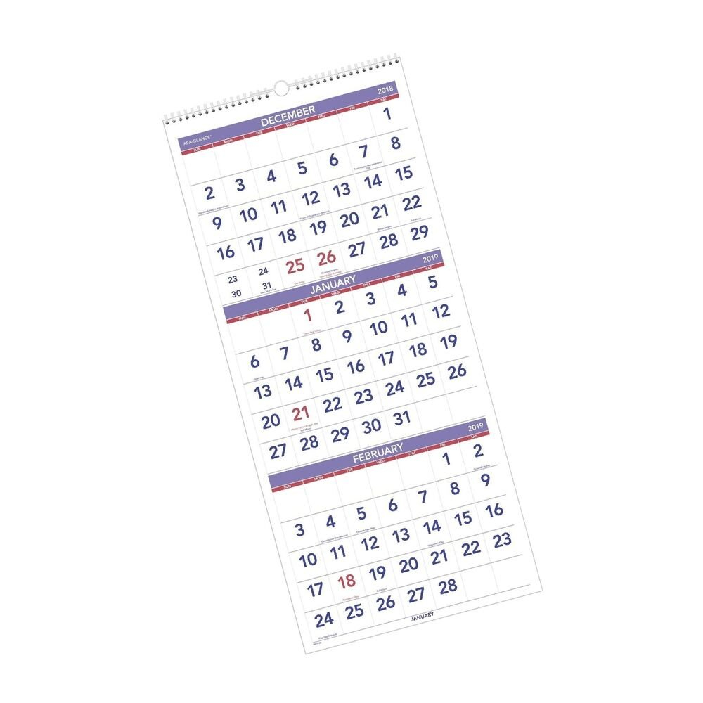 "At-A-Glance 2019 Wall Calendar, 3-Month Display, 12"" X 27"", Large 3 Month Wall Calendar 2019"