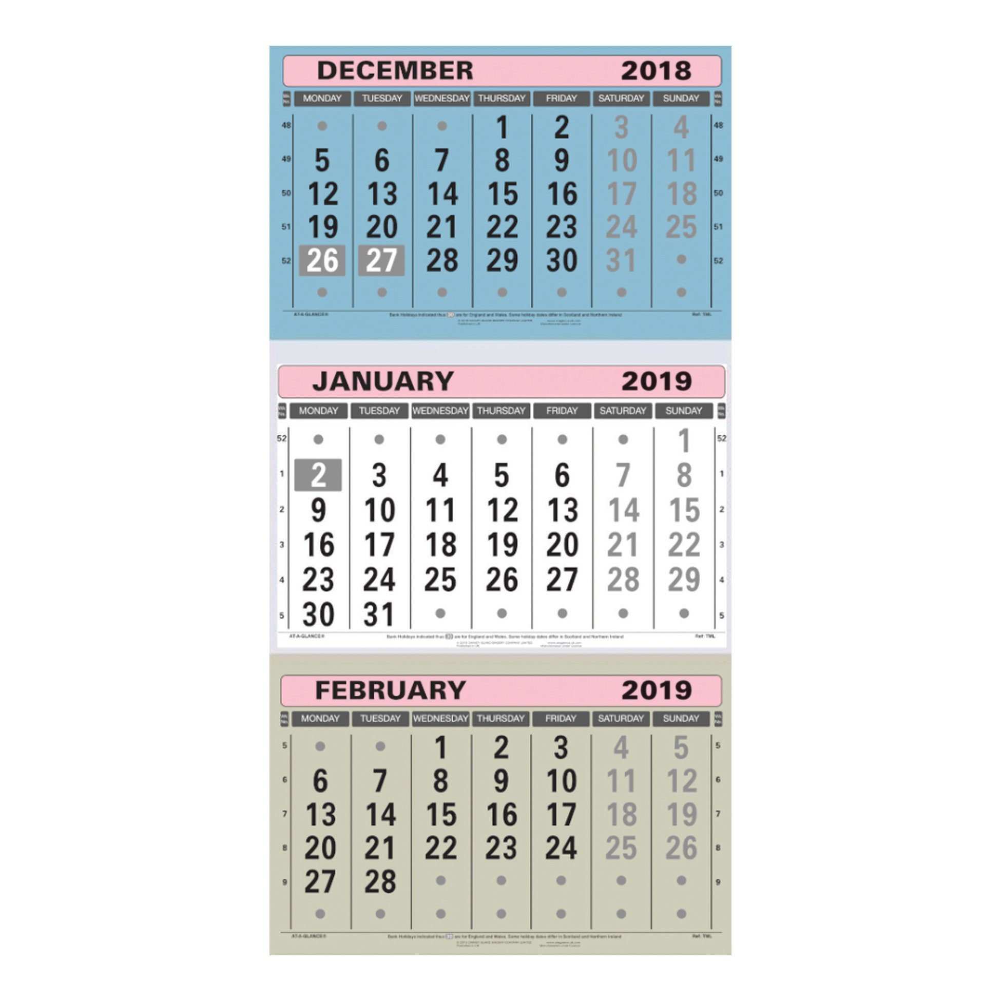 At-A-Glance 2019 Wall Calendar Three Months To View Board Binding 3 Month Wall Calendar 2019
