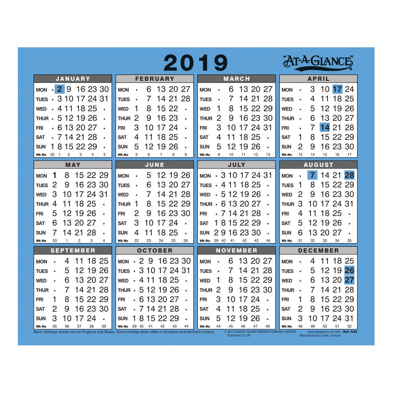 At A Glance 2019 Wall/desk Calendar Year To View Gloss Board Binding Calendar 2019 View