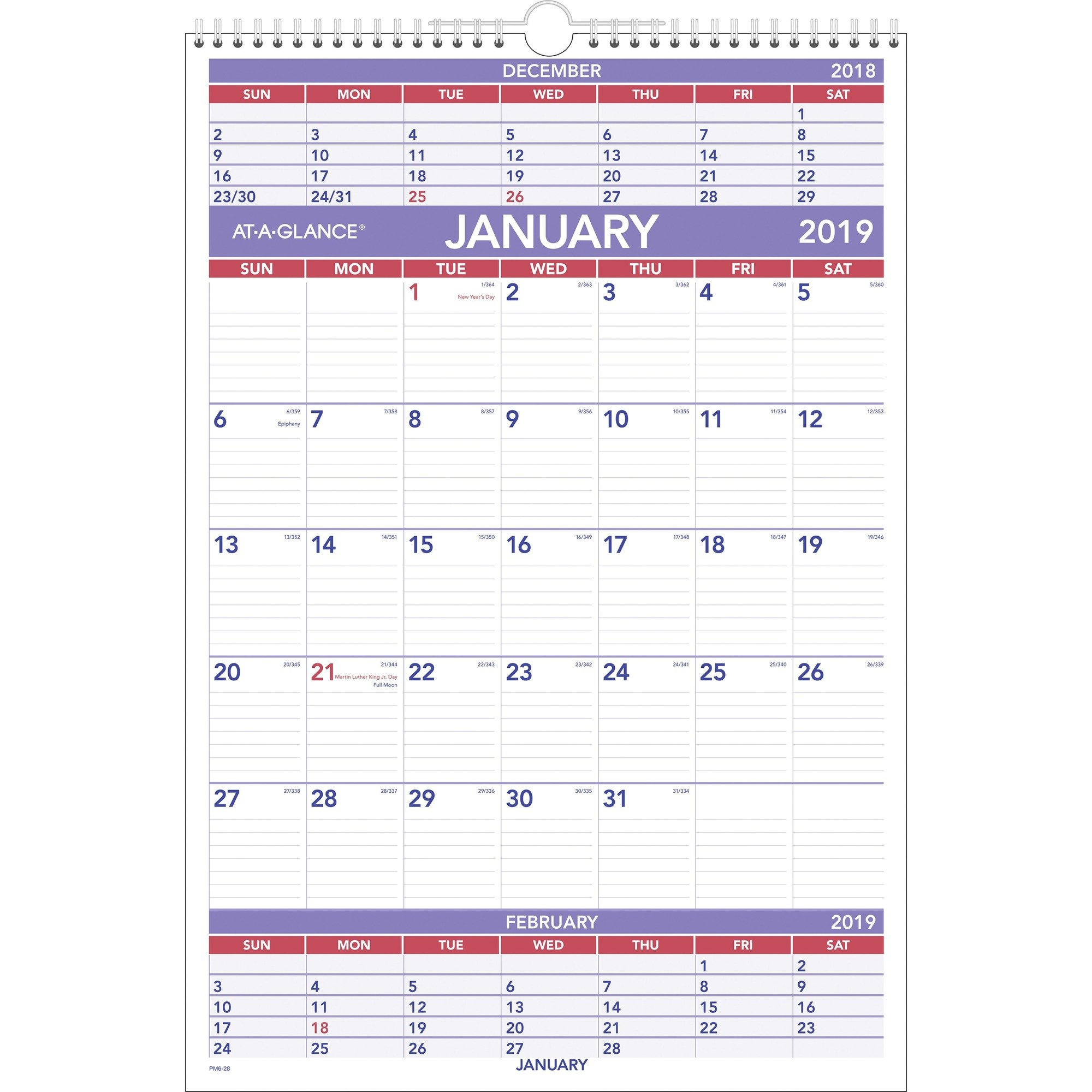 At-A-Glance 3-Month Wall Calendar - Yes - Quarterly - 1 Year 3 Month Wall Calendar 2019