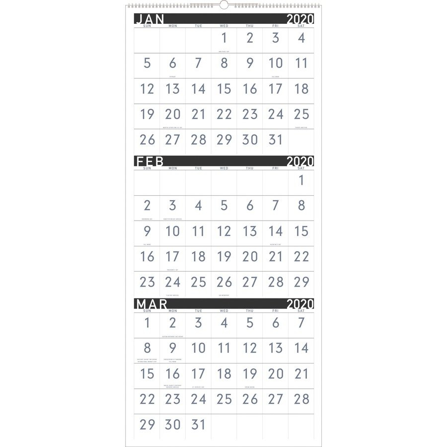 At-A-Glance Contemporary 3-Month Vertical Wall Calendar - Yes 3 Month Wall Calendar 2019