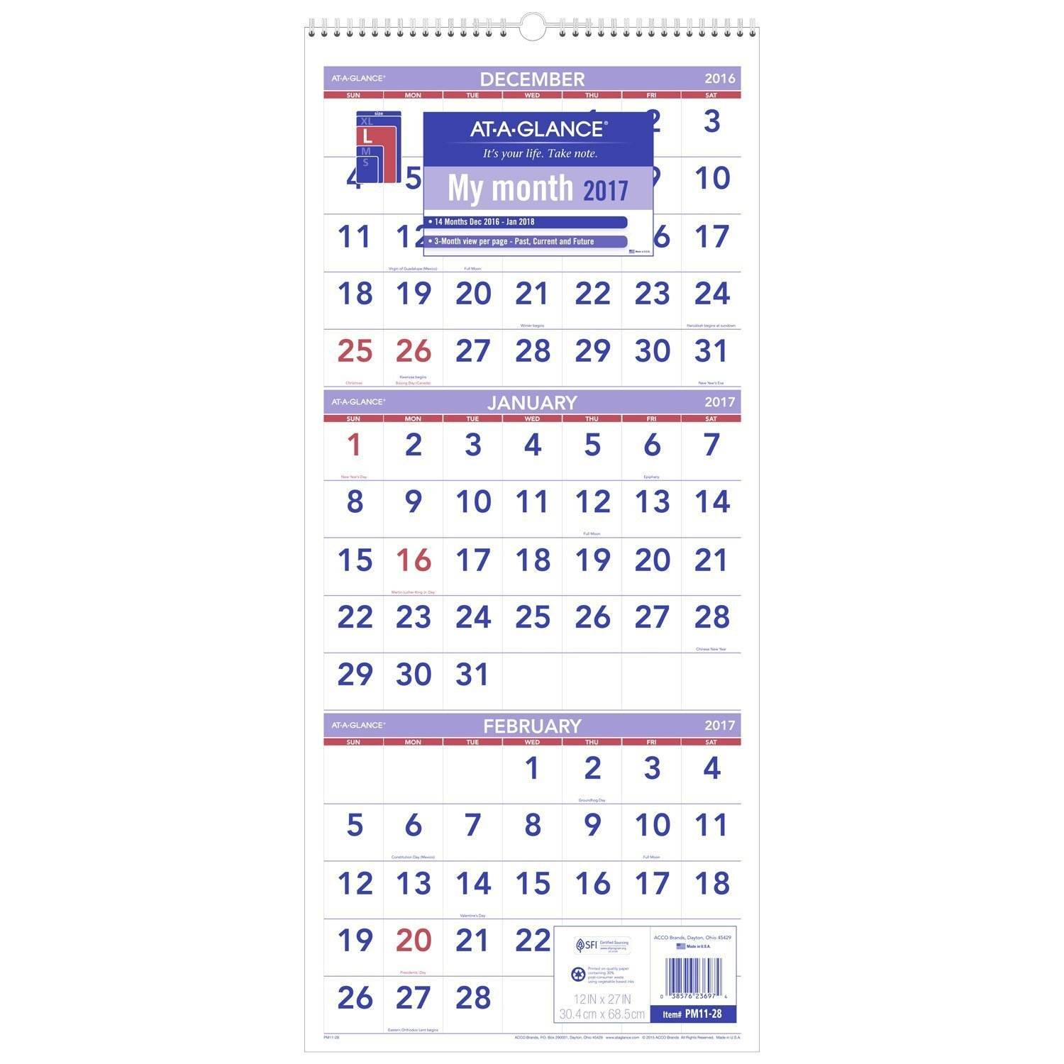 At-A-Glance Wall Calendar, 2018, December 2017 - January 2019, 3 3 Month Wall Calendar 2019