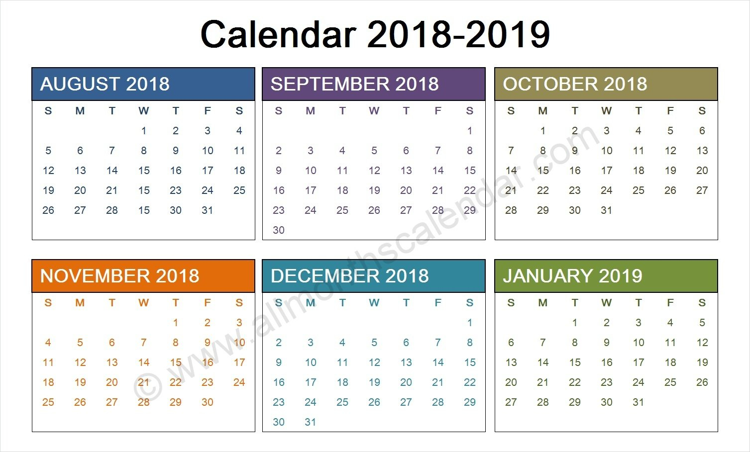 August 2018 To January 2019 Calendar Template | Calendar Design August 9 2019 Calendar