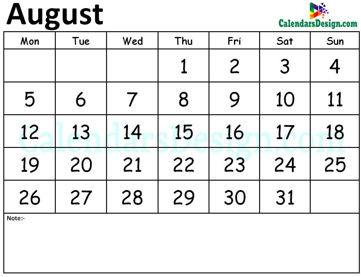 August 2019 Calendar August 7 2019 Calendar