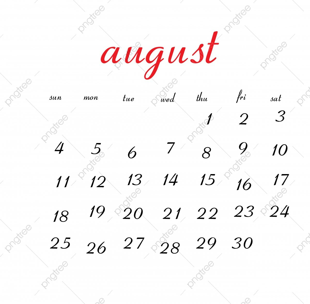 August 2019 Calendar, Calendar, Clean, White Png And Vector With August 7 2019 Calendar