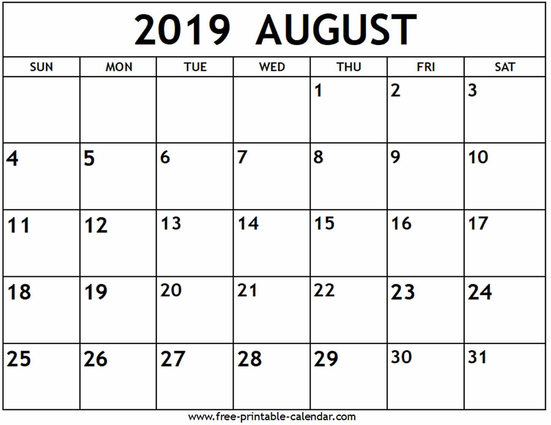 August 2019 Calendar - Free-Printable-Calendar Printable 2019 Calendar