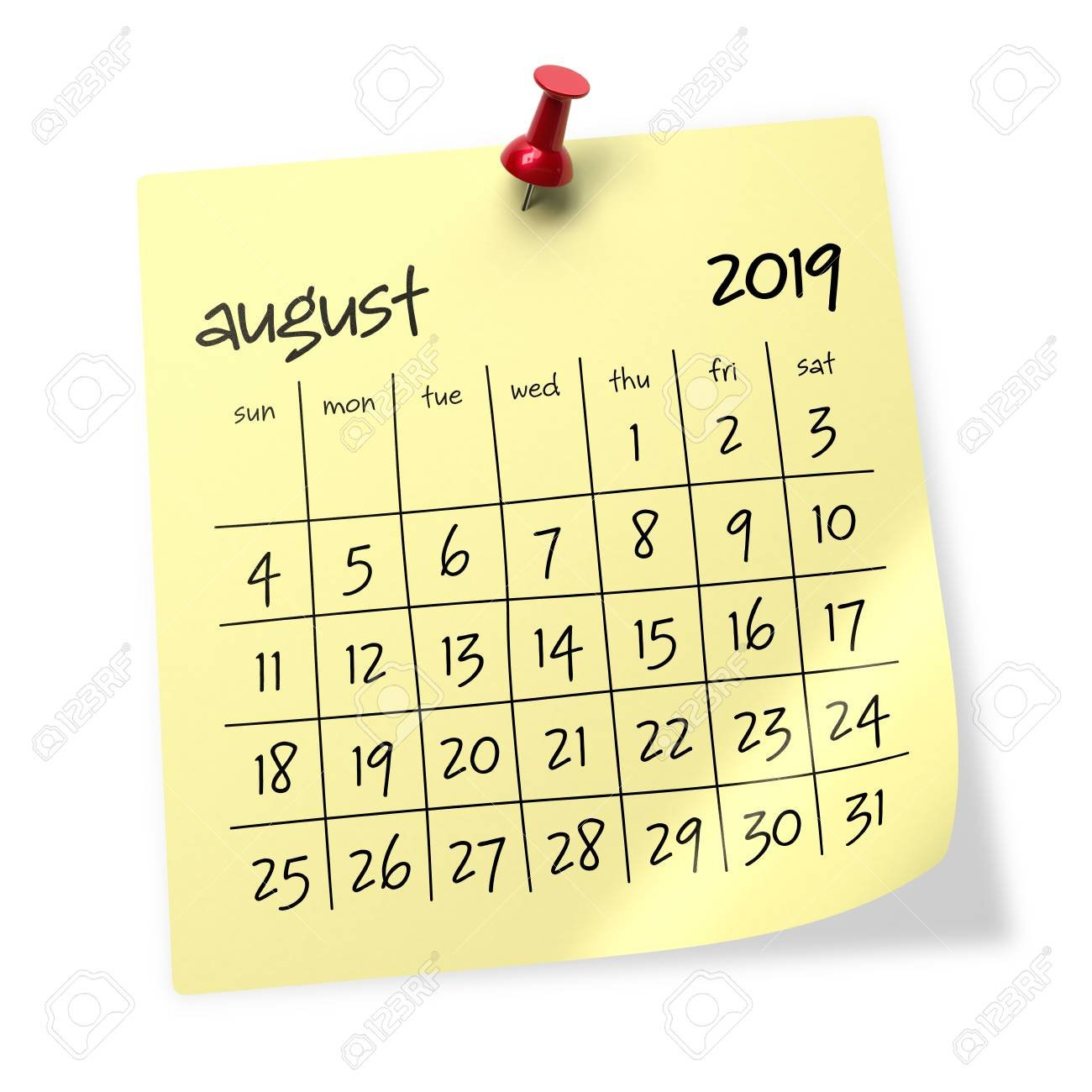 August 2019 Calendar. Isolated On White Background. 3D Illustration August 3 2019 Calendar