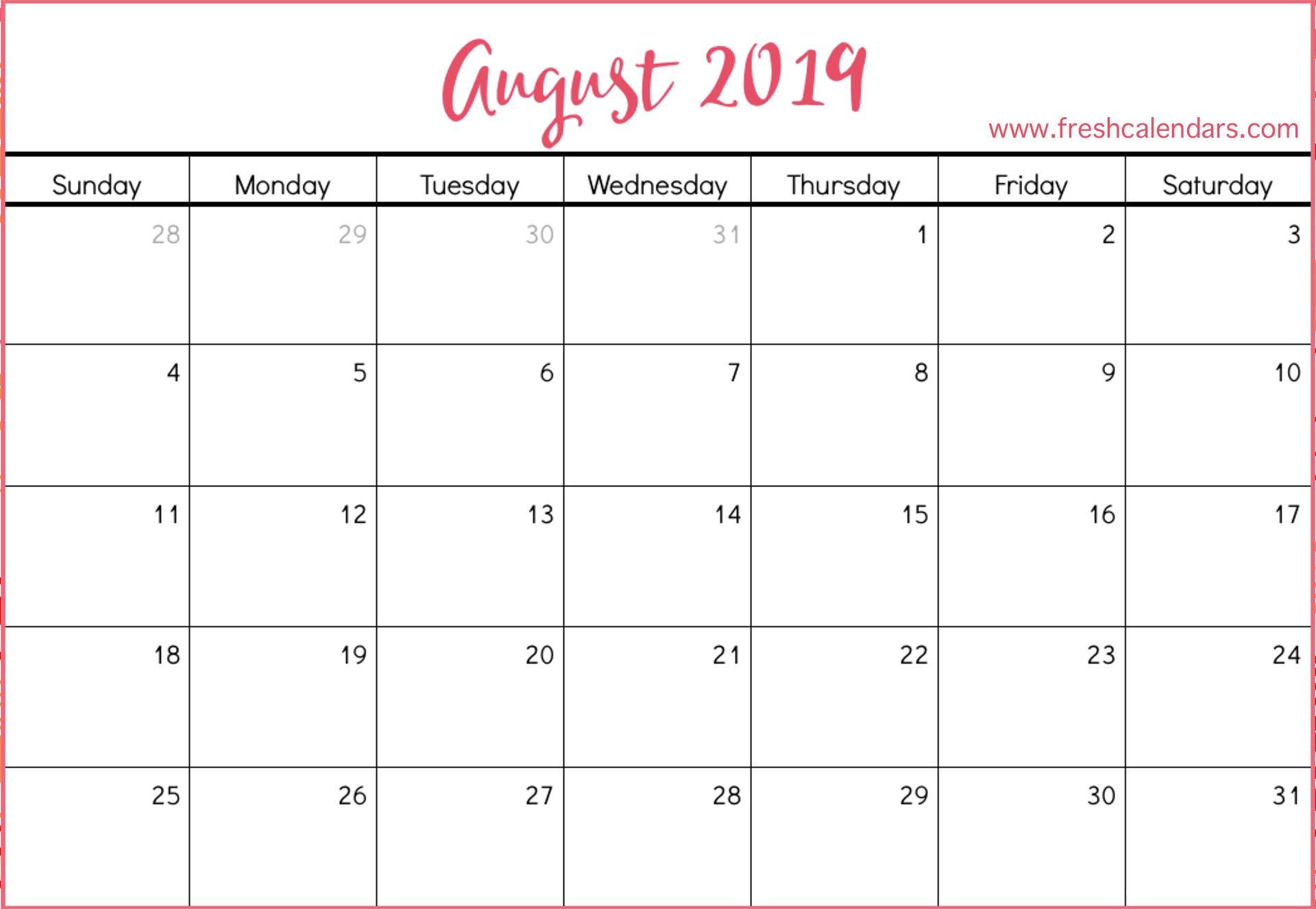 August 2019 Calendar Printable - Fresh Calendars Calendar 2019 August