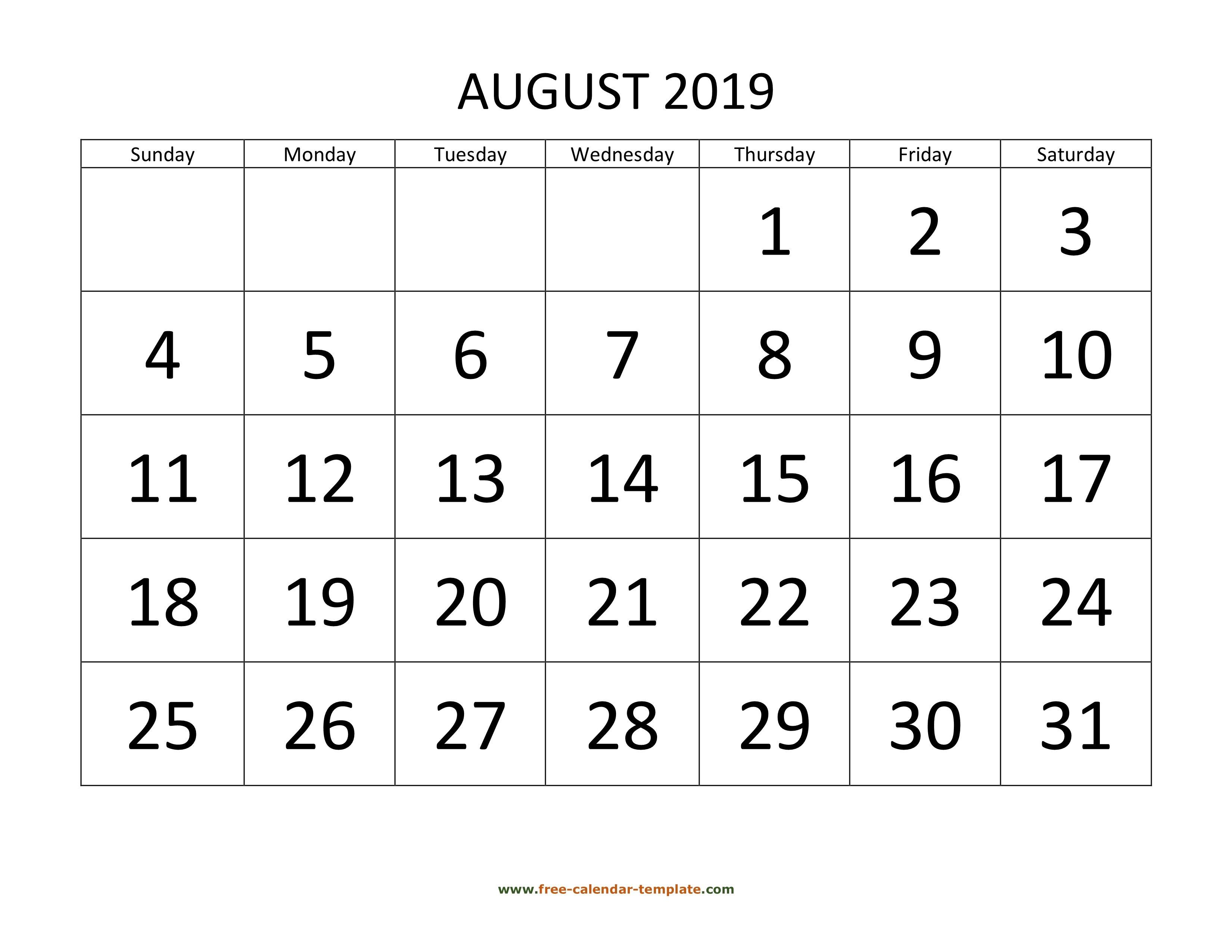 August 2019 Free Calendar Tempplate | Free-Calendar-Template August 1 2019 Calendar