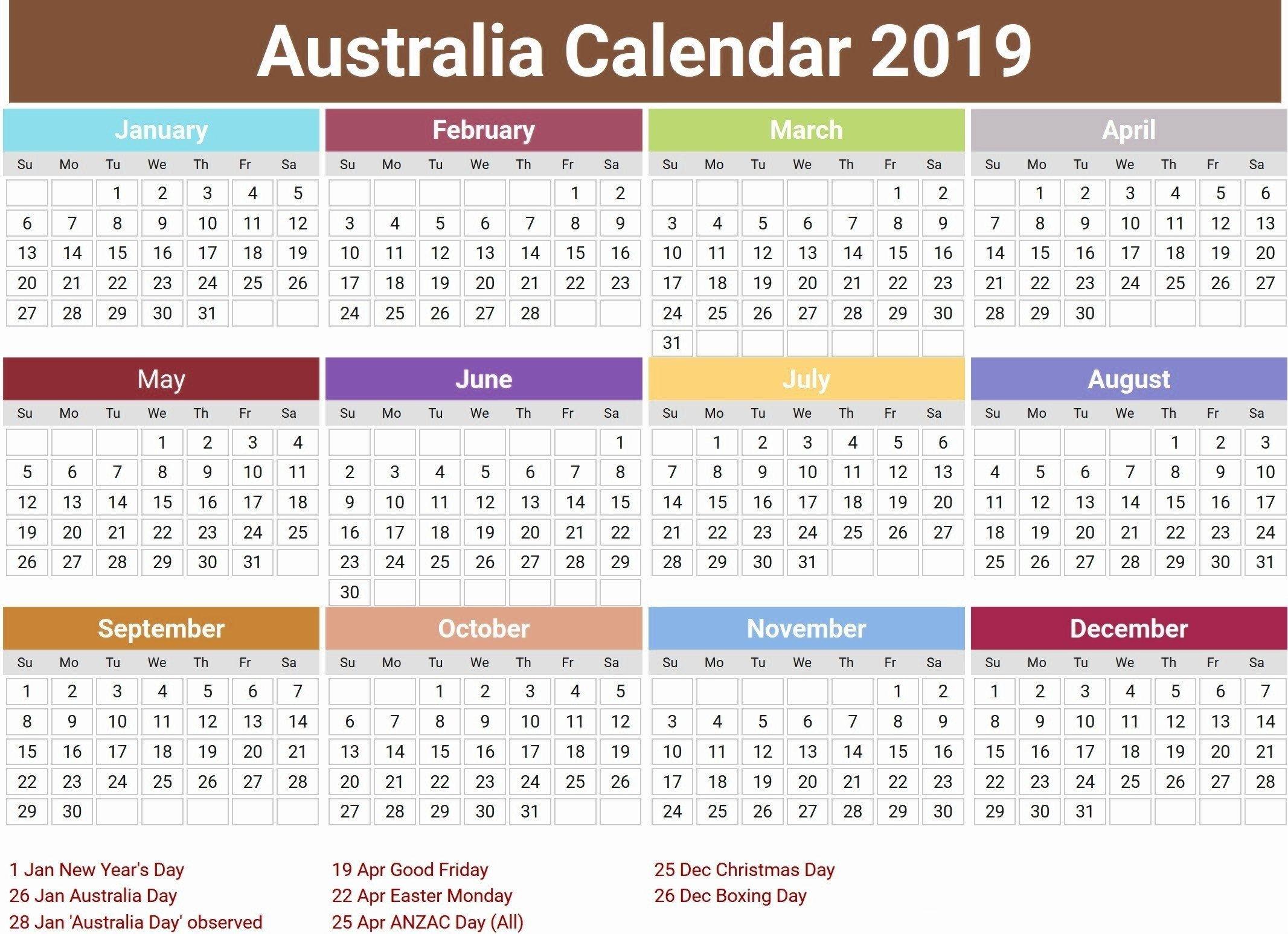Australia 2019 Calendar With Holidays | Printable Calendar 2019 Calendar 2019 Australia