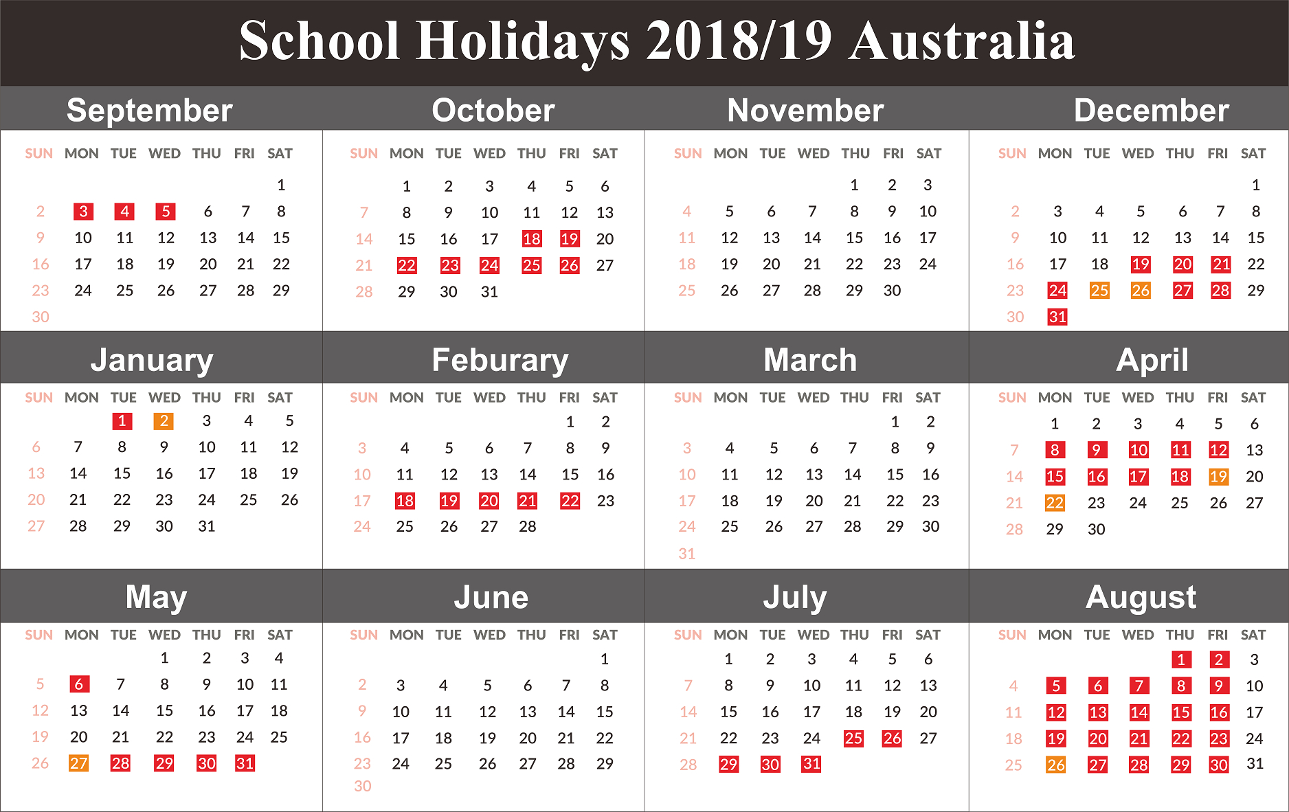 Australia 2019 School Holidays Calendar | 2019 Calendars | Holiday Calendar 2019 Victoria School Holidays