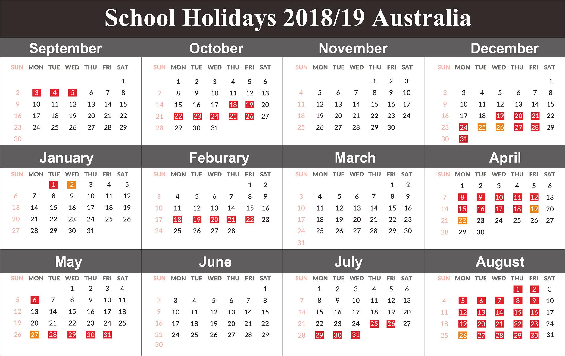 Australia 2019 School Holidays Calendar | 2019 Calendars | Holiday Calendar 2019 Victoria