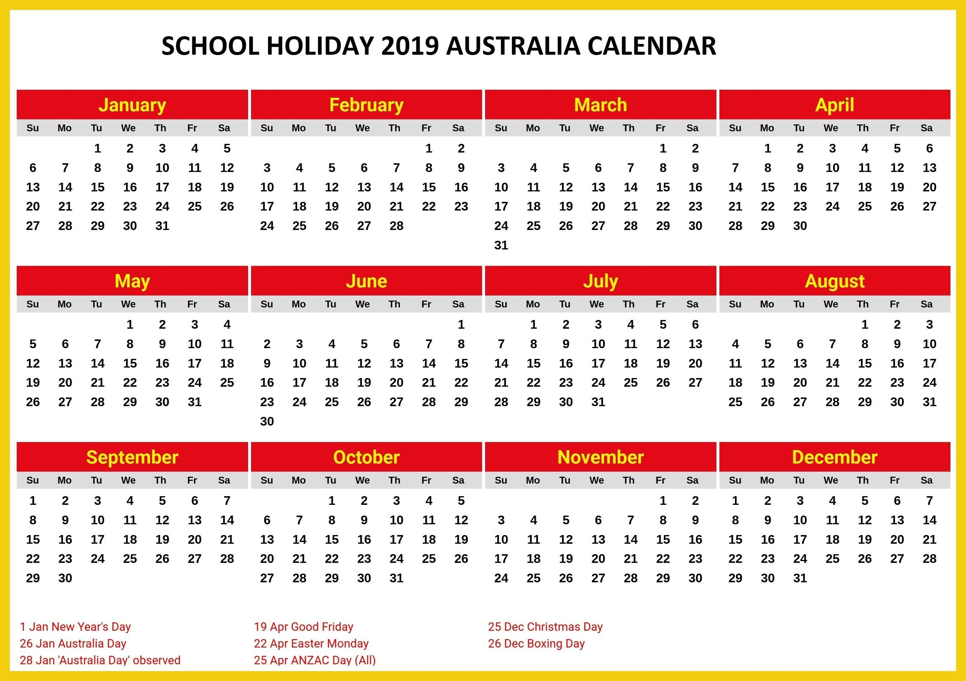 Australia 2019 School Holidays Printable Calendar | 2019 Calendars Calendar 2019 Australia