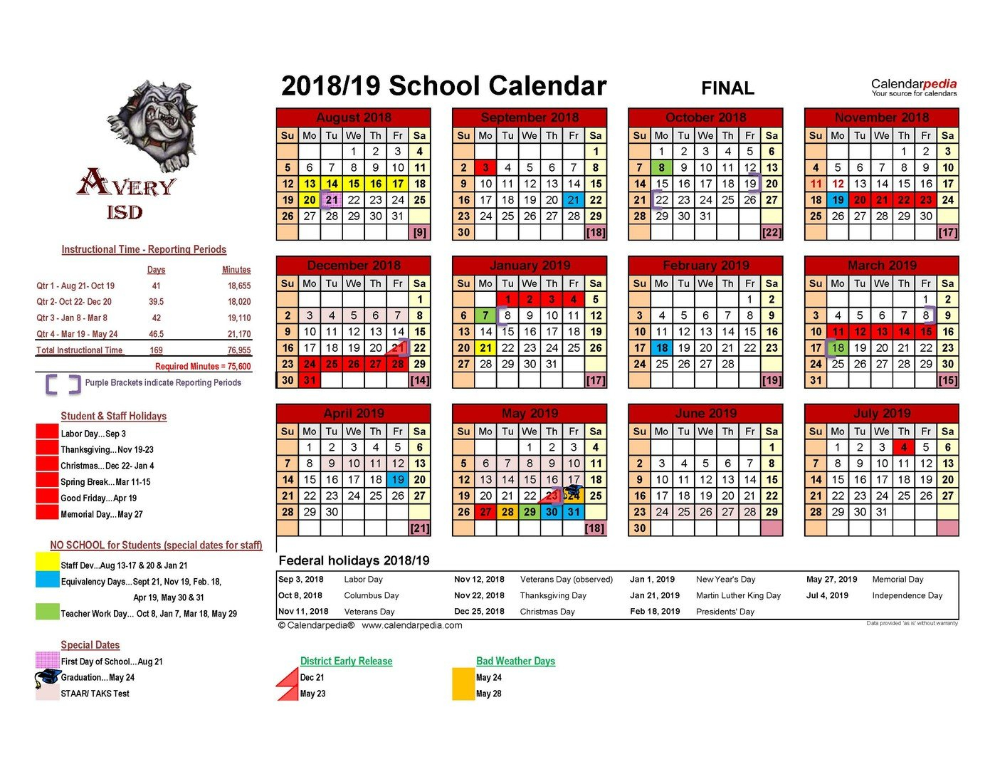 Avery Isd - 2018 - 2019 Avery Isd District Calendar Final District 6 Calendar 2019