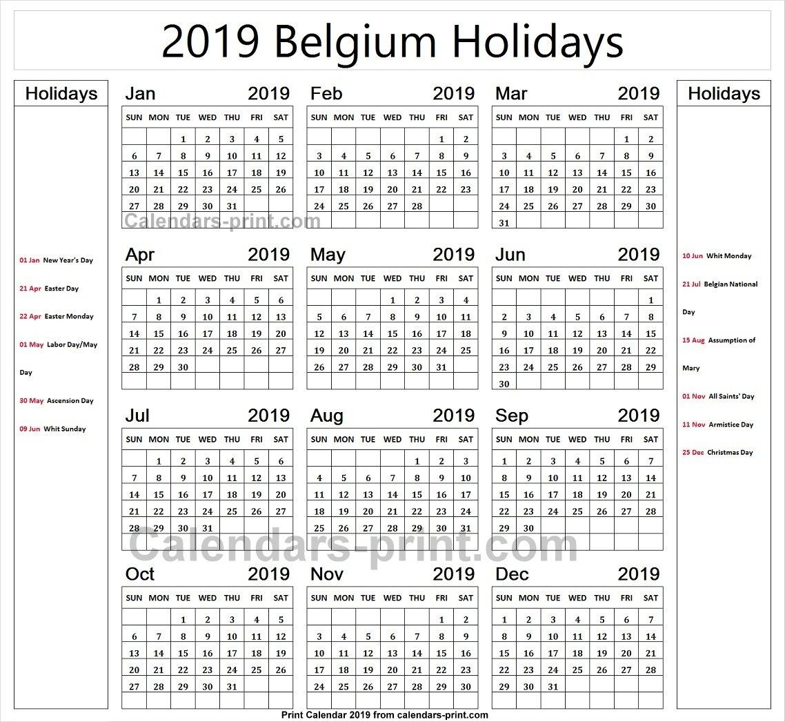 Belgium 2019 Calendar With Holidays Calendar | 2019 Belgium Calendar Calendar 2019 Belgium