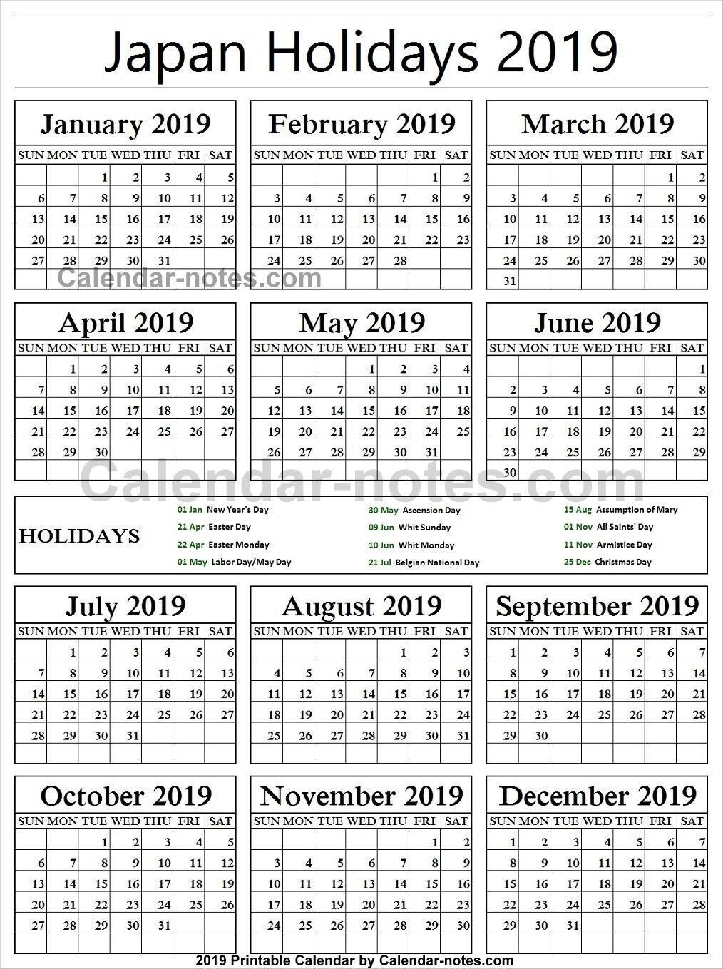 Belgium Holiday 2019 Calendar | Holidays Calendar 2019 | Portugal Calendar 2019 Belgium