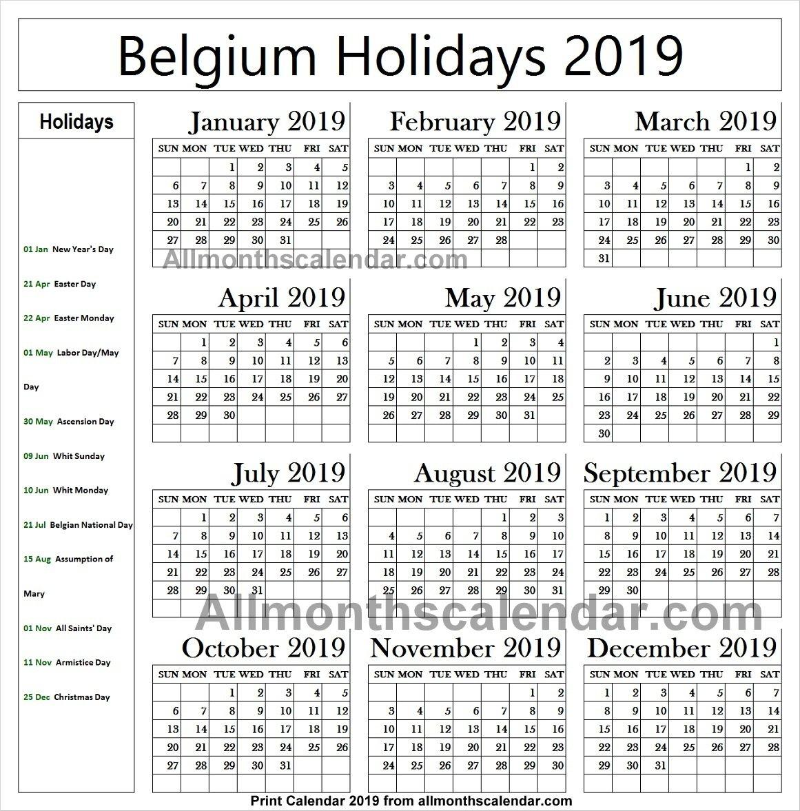 Belgium Holiday List 2019 Calendar | 2019 Belgium Calendar Calendar 2019 Belgium