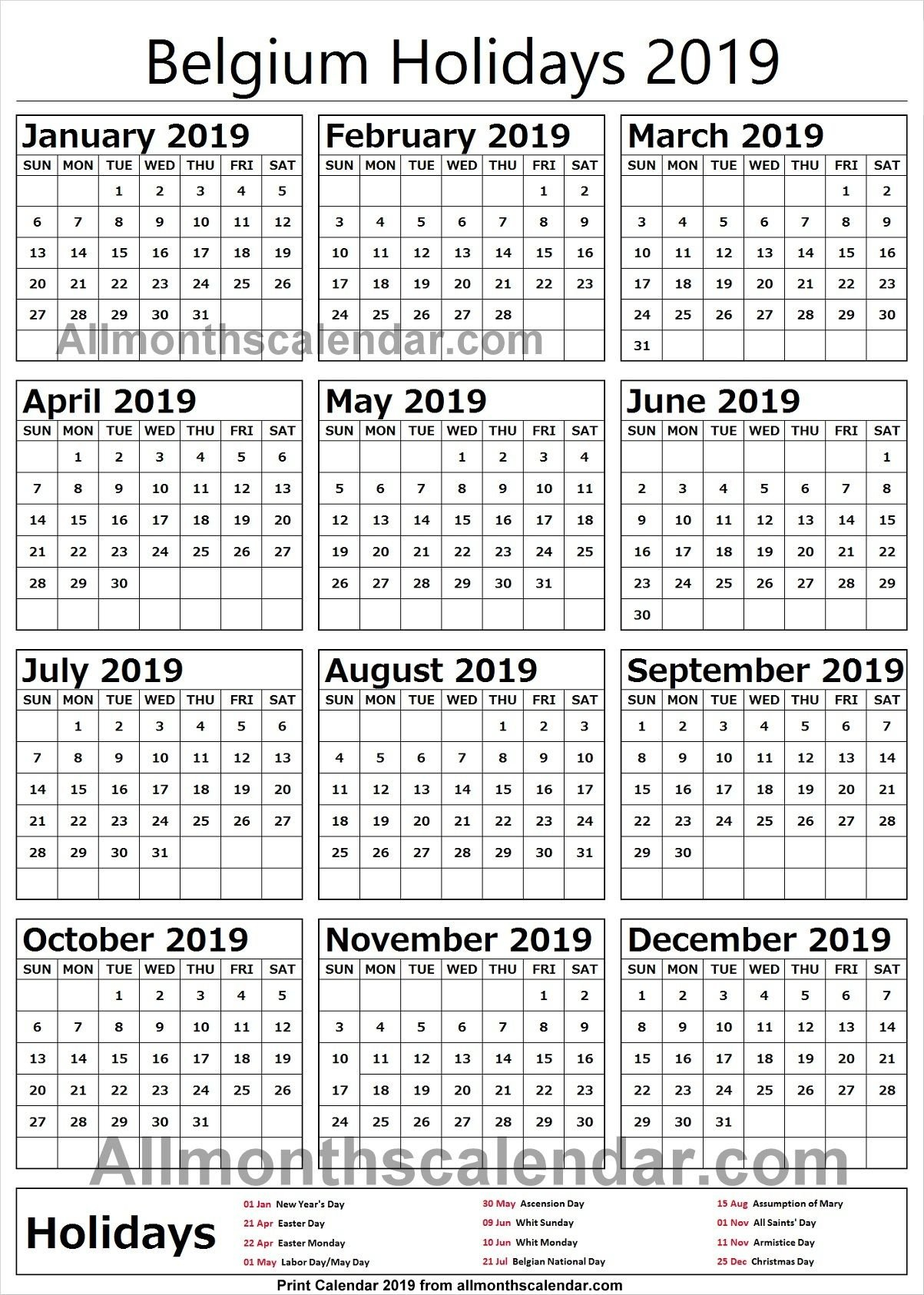Belgium Holiday List 2019 | Holidays Calendar 2019 In 2019 | Holiday Calendar 2019 Belgium
