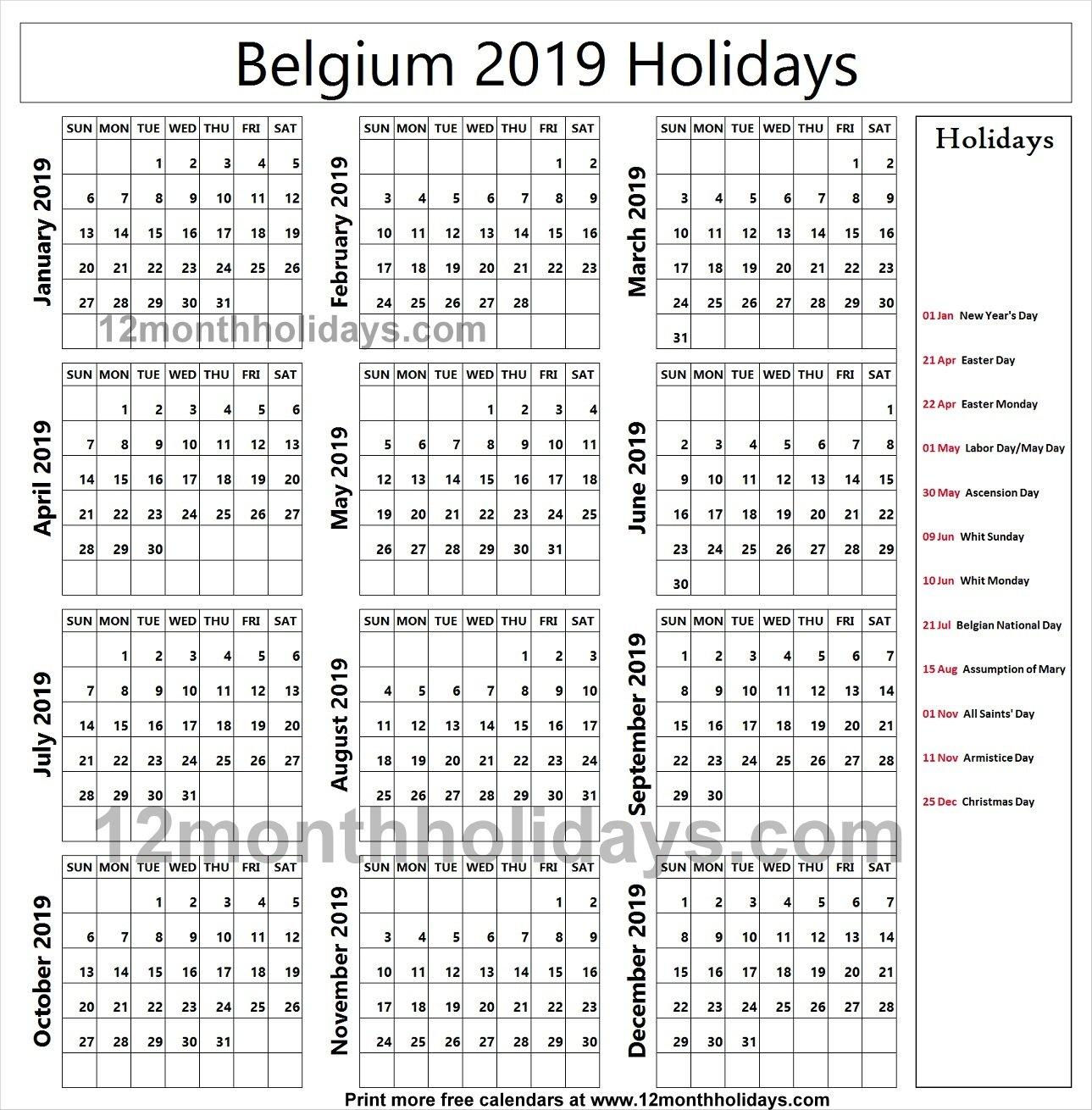 Belgium School Holidays 2019 Calendar | 2019 Belgium Calendar Calendar 2019 Belgium