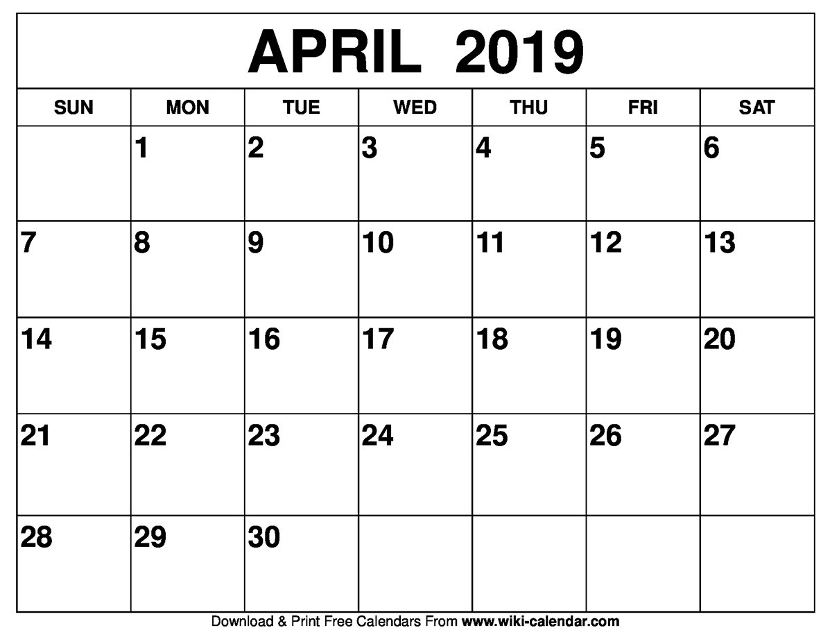 Blank April 2019 Calendar Printable A Calendar For April 2019