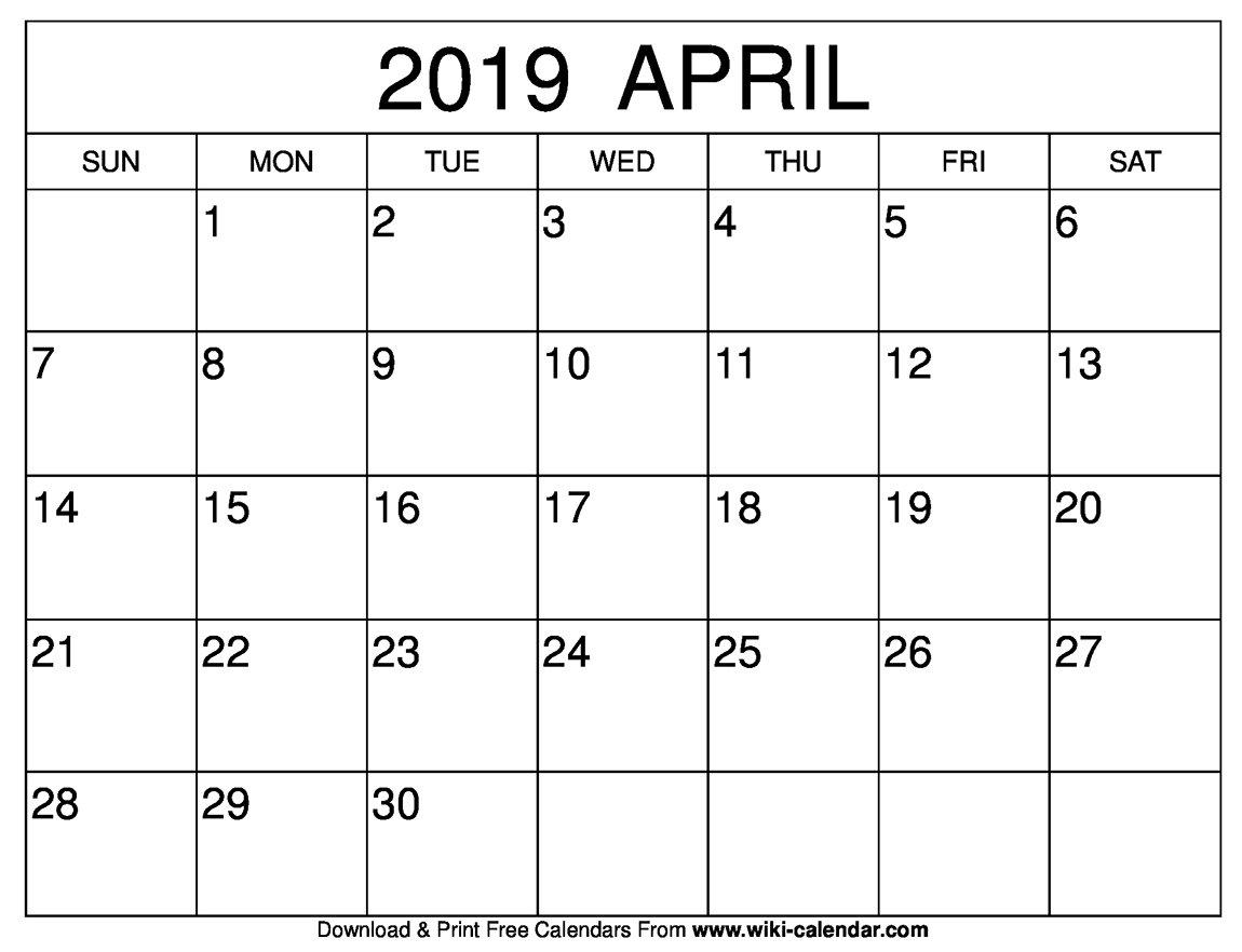 Blank April 2019 Calendar Printable April 1 2019 Calendar