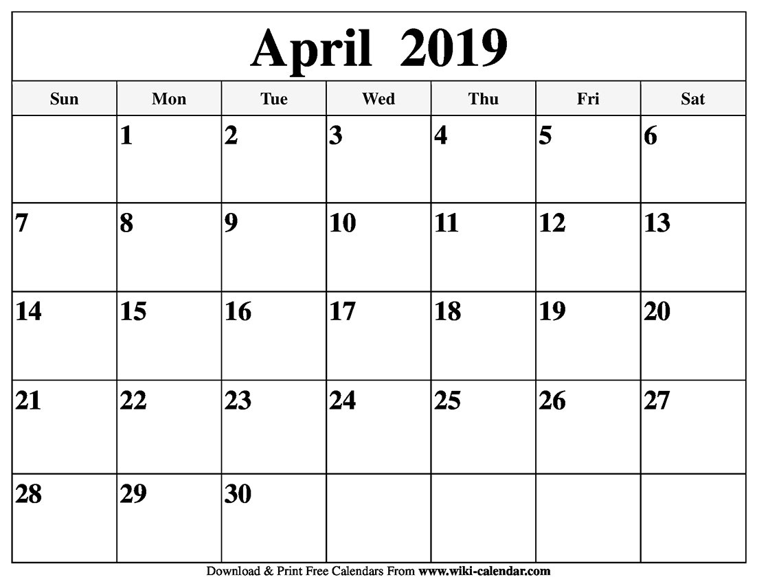 Blank April 2019 Calendar Printable Calendar 2019 Easter