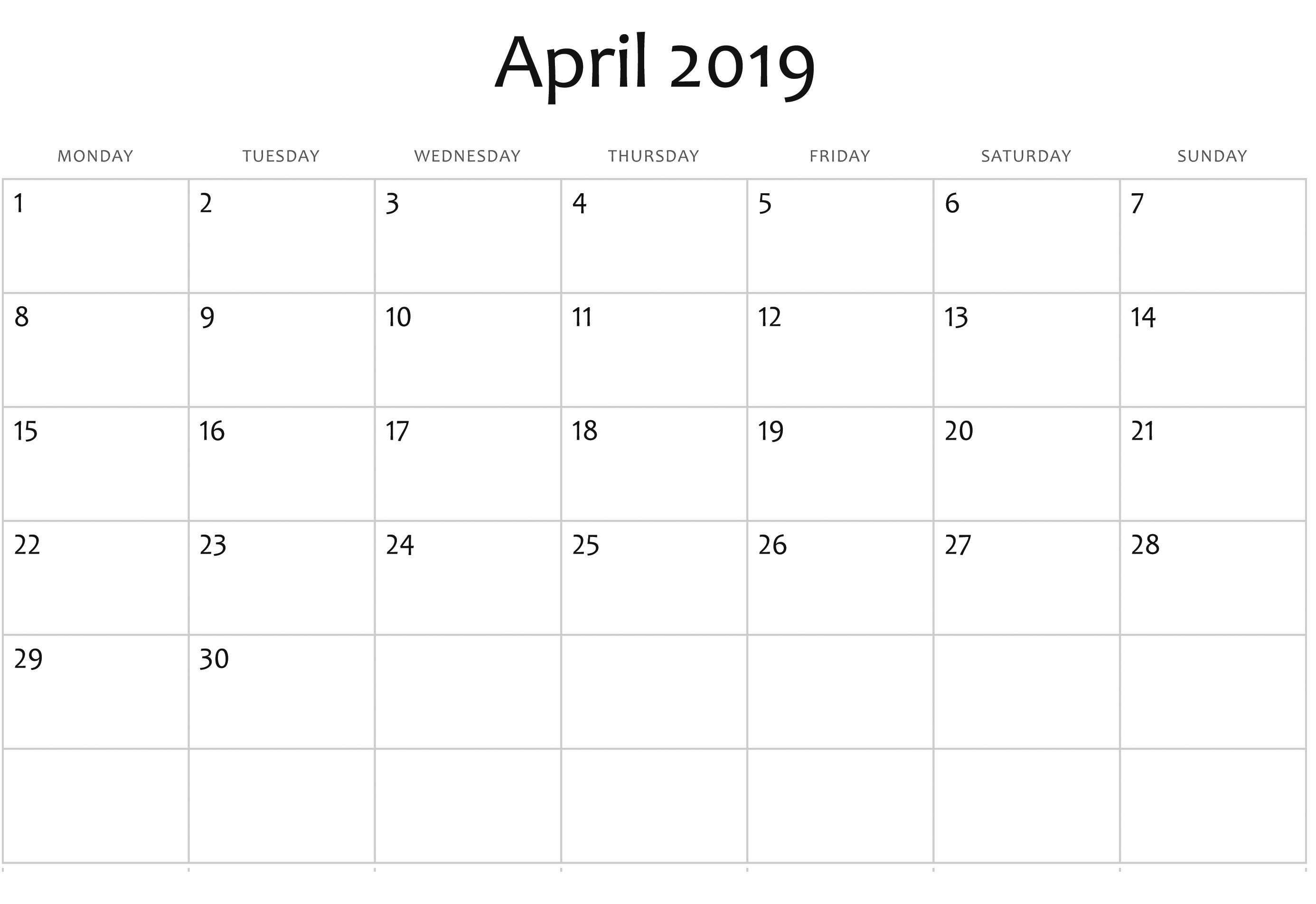 Blank April 2019 Editable Calendar Templates | Calendar 2019 Calendar 2019 Editable