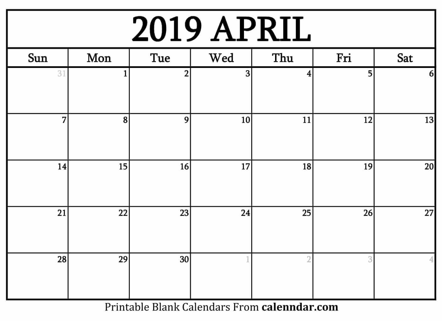 Blank April 2019 Printable Calendar - Printable Calendar 2019| Blank A Calendar For April 2019