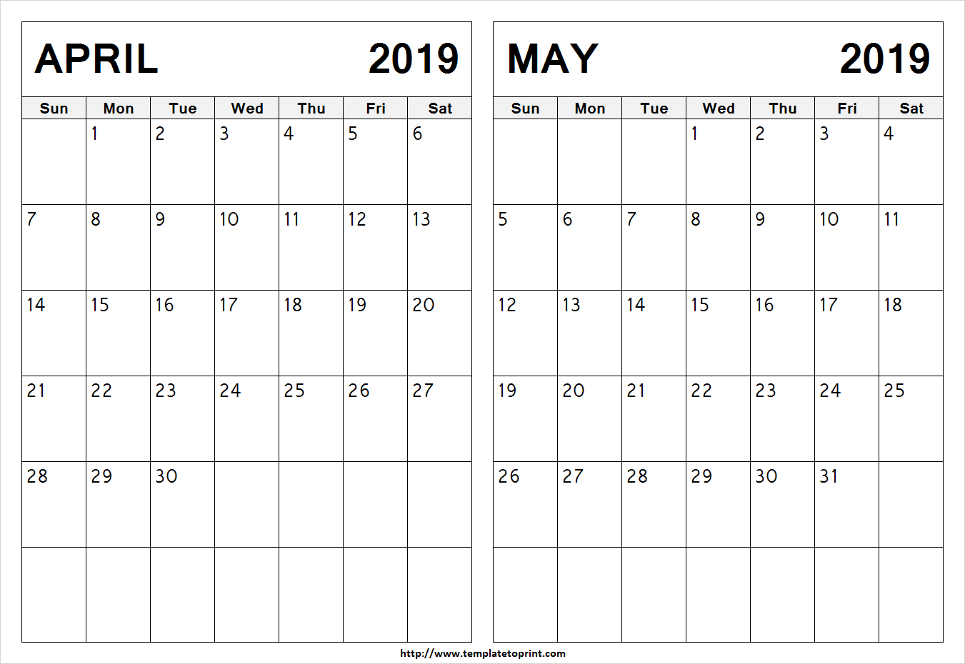 Blank April May 2019 Calendar Template | Printable 2 Month Calendar Calendar 2019 April May