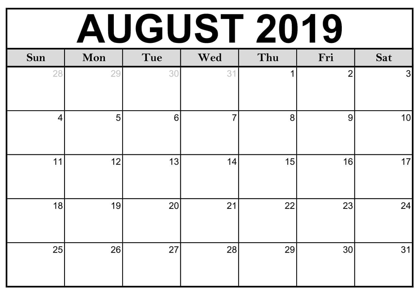 Blank August 2019 Calendar Page - Free Printable Calendar & Template August 1 2019 Calendar