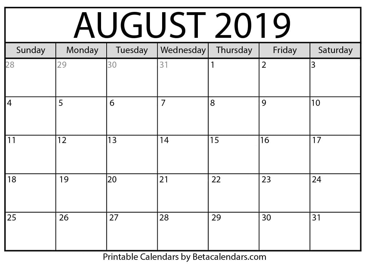 Blank August 2019 Calendar Printable - Beta Calendars Calendar 2019 August
