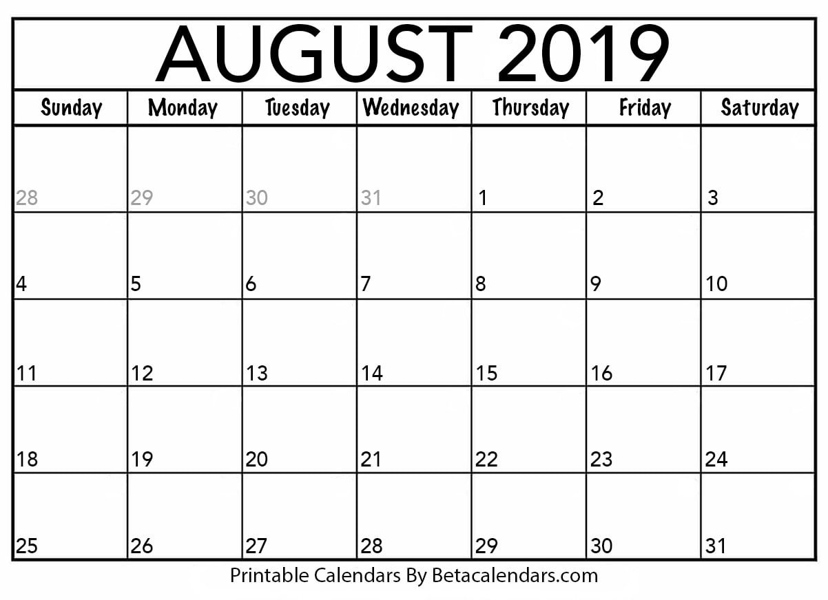 Blank August 2019 Calendar Printable - Beta Calendars U Michigan Calendar 2019