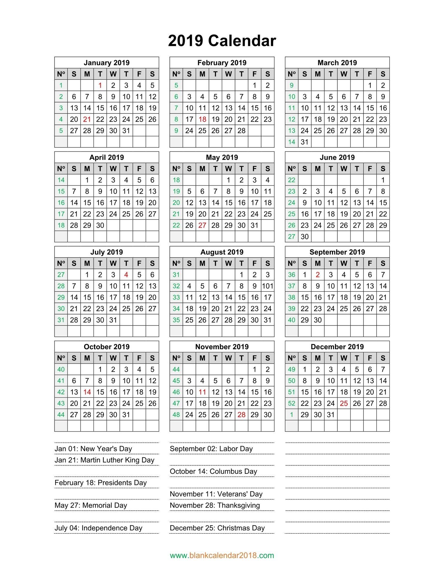 Blank Calendar 2019 Calendar 2019 Portrait