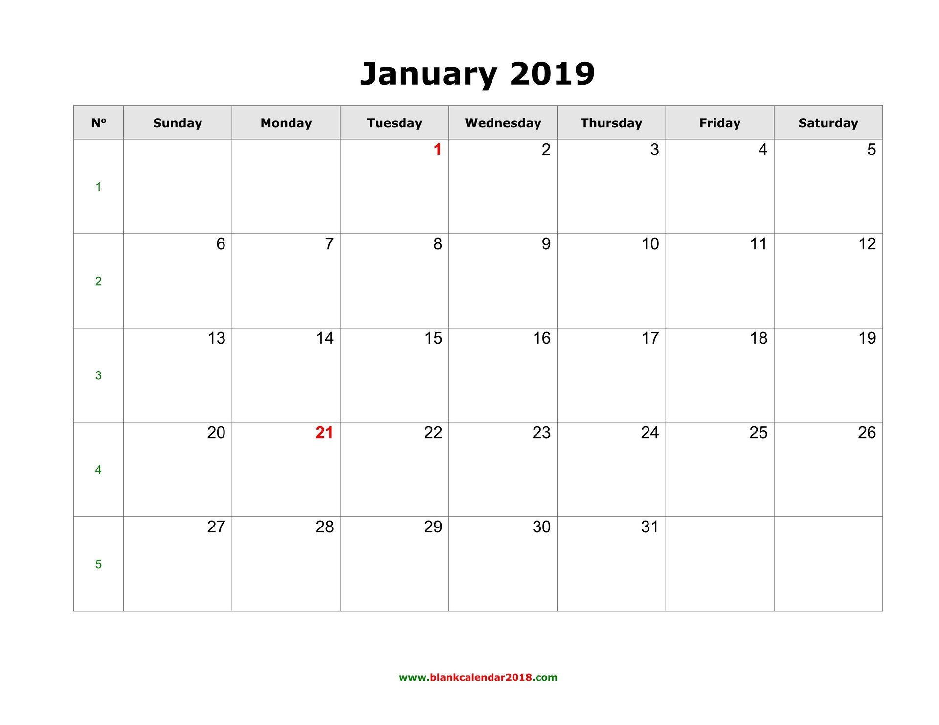 Blank Calendar For January 2019 Calendar 2019 January Printable