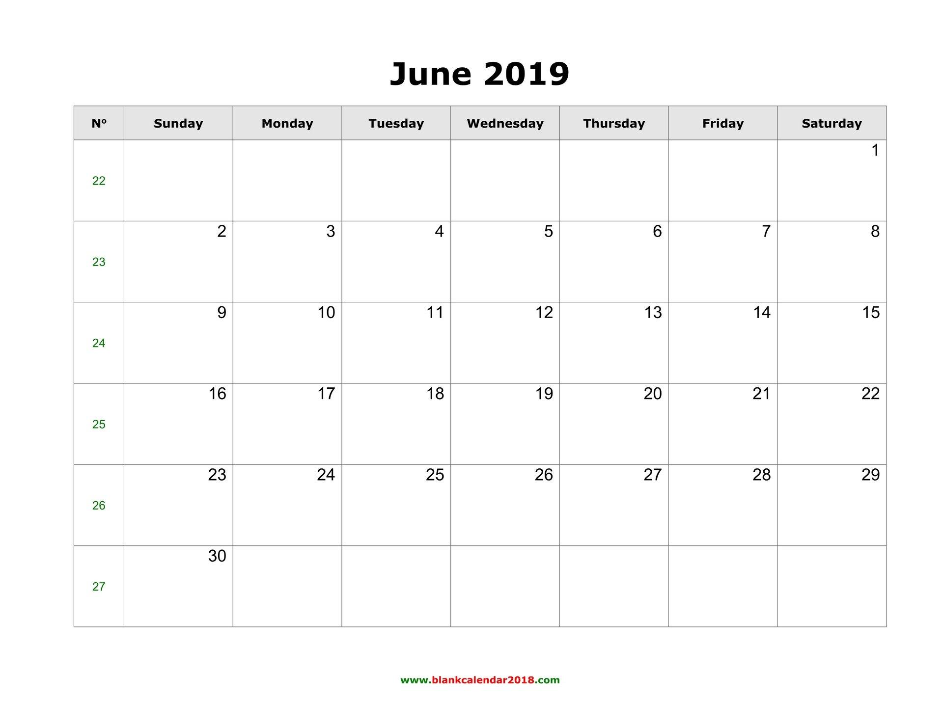 Blank Calendar For June 2019 Calendar 2019 In Word
