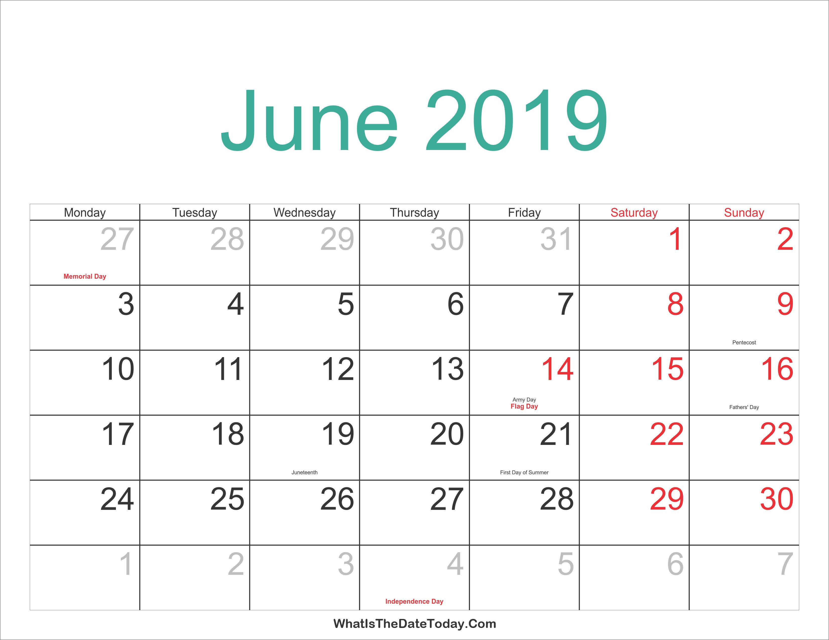 Blank Calendar For June 2019 Word - Printable Calendar 2019| Blank June 4 2019 Calendar