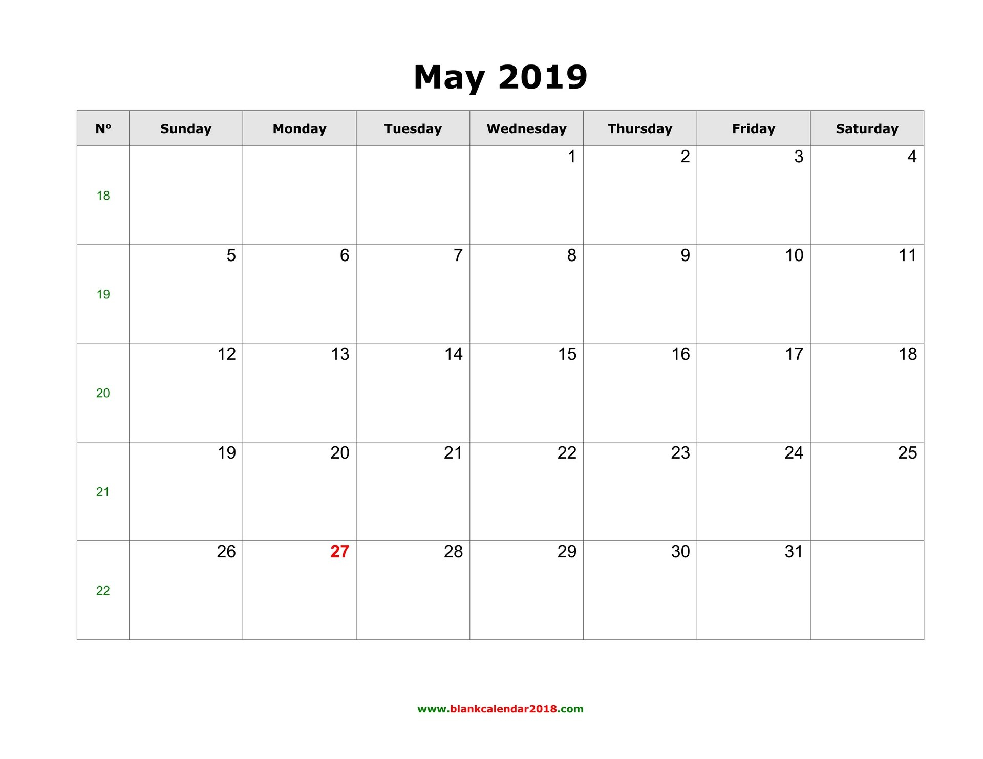 Blank Calendar For May 2019 Calendar 2019 Template Word