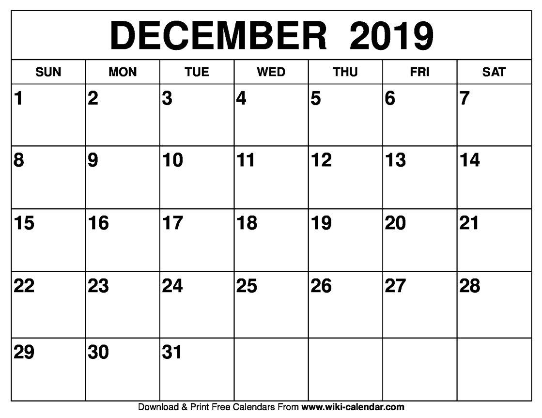 Blank December 2019 Calendar Printable Calendar 2019 December Printable